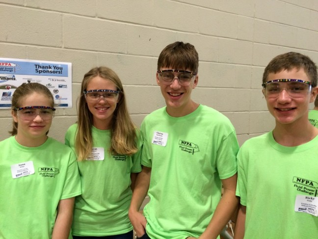 """""""Team Swag,"""" from Latrobe, Pa., adds some edge to the event with their enthusiastic attitude and glammed-out safety glasses."""