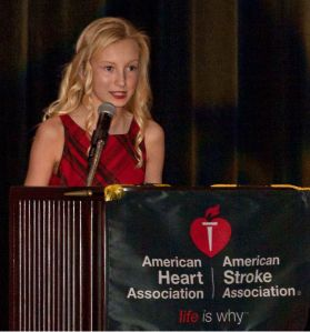 Shannon speaking at American Heart Association event.