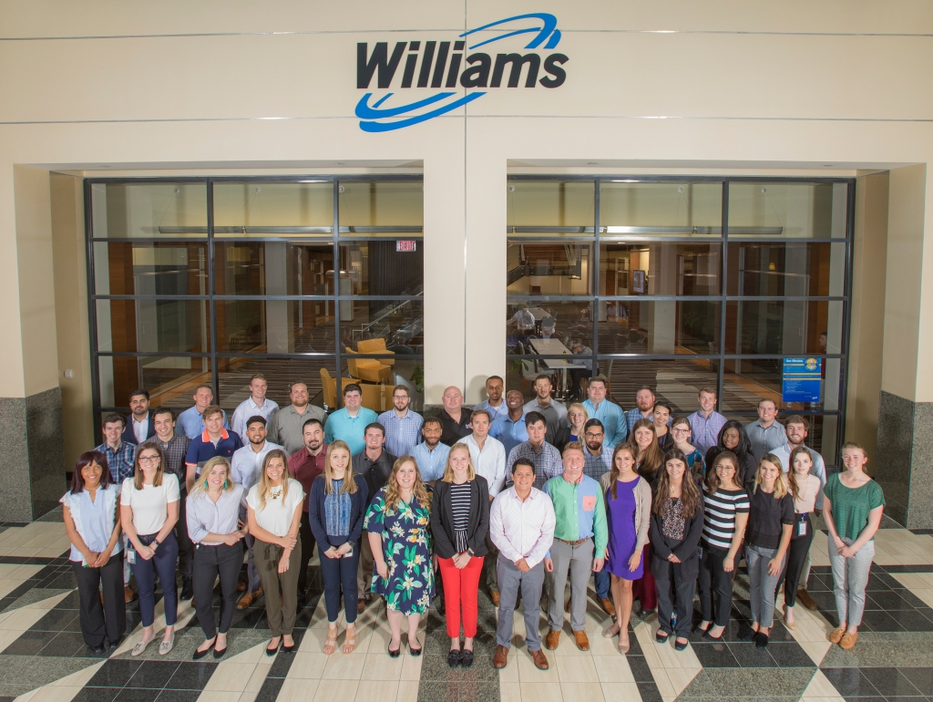 The 2018 Williams intern class pose for a group photo.